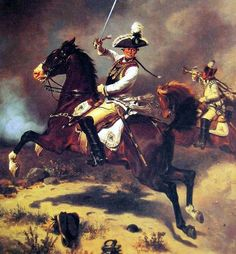 General von Seydlitz leading the charge of the Prussian Cuirassiers at Zorndorf, (artist unknown). Help eliminate poor pinning! If you know the artist and can supply a link, please update this pin. Thank you!