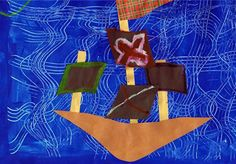 Pirate Ship: paper collage on painted paper