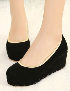Concise Style Round Toe Color Block Wedge Heels for Women