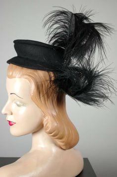 late 1930s tilt hat black vintage hat feathers trim from Viva Vintage Clothing
