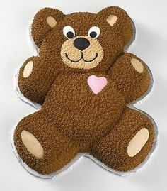 "Teddy Bear Cake - Serve this heartfelt cake anytime you want to say, ""I love you."" After icing a Teddy Bear Pan cake, finish the fuzzy-wuzzy critter with a piped-icing heart to showcase your true feelings. Teddy Bear Birthday Cake, 3d Birthday Cake, Teddy Bear Cupcakes, Picnic Birthday, Baby First Birthday, Birthday Parties, Birthday Ideas, Rodjendanske Torte, Thema Deco"