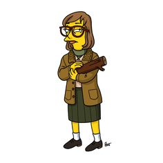 "The Log Lady. | ""Twin Peaks"" Characters Drawn As ""The Simpsons"""
