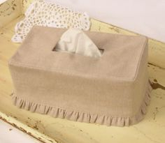Natural Linen Ruffle Rectangle Tissue Box Cover by headtotoe2009, $23.00
