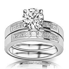 Round-brilliant cut princess diamond engagement and wedding bad set