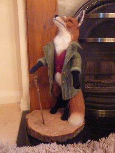 "Needle felt sculpture ""Mr Fox"" he stands 22"" tall. He is solid, needle felted merino wool with a wet felted jacket and waist coat. By Paula Drage"