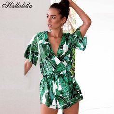 94d2b0b3b7f Fashion Playsuit Floral Print Spring Summer Streetwear Rompers Women  Jumpsuit Macacao Feminino Casual Beach Clothes Tops