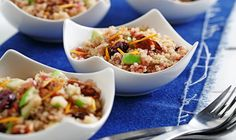 CanolaInfo | Quinoa and Browned Onion Salad with Apples |If you've never had browned onions in a salad, this is the time to try it. Sautéed in mild-tasting canola oil, the onions are sweet and nutty and bring out the flavor of the pecans.