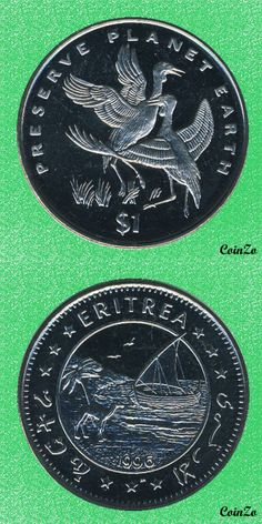 Wattled Crane, Eritrea 1 Dollar 1995 Copper-Nikel 28.2 g 38.7 mm KM-34
