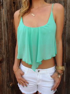 53c546191bd172 Chiffon mint crop top and white shorts. Best summer ideas for your closet.