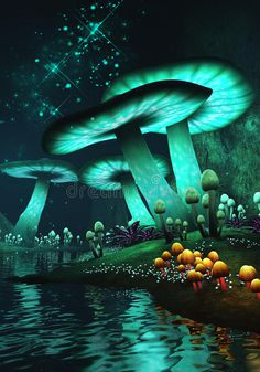 Illustration of nght - 43778715 - Fantasy mushrooms. rendered image of glow in the dark fantasy mushrooms , - Gothic Fantasy Art, Final Fantasy Art, Fantasy Forest, Fantasy Castle, Forest Art, Beautiful Fantasy Art, Fantasy Kunst, Fantasy Artwork, Fantasy Wizard