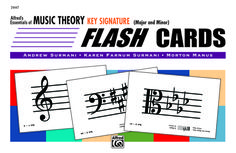 KEY SIGNATURE FLASHCARDS - Major and Minor By Andrew Surmani, Karen Farnum Surmani, and Morton Manus. These exciting Flash Card sets include 48 key signature cards each. They use Treble, Bass and Alto clefs. They are organized into 6 sets and may be used with any beginning music theory course. Correlated with Essentials of Music Theory, Books 2 & 3, and Volumes 2 & 3 of the Computer Software.