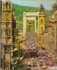 Erzsebet Bridge from Szabadsajto ut view 1973 > Budapest, Hungary Retro Wallpaper, Budapest Hungary, Homeland, Bridges, Tao, Old Photos, Roads, Big Ben, The Past