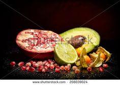 Fresh sliced exotic fruits - stock photo