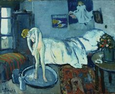 "This is Pablo Picasso's painting ""The Blue Room."" Created in 1901, the piece is one of the his first masterpieces. He painted the image in P..."