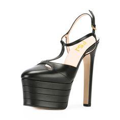 #FSJshoes - #FSJ Shoes Black Platform Sandals T Strap Closed Toe Chunky Heels - AdoreWe.com