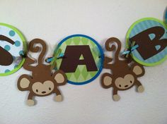 monkey baby shower banner by ParkersMommy17 on Etsy, $15.00
