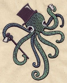 Dapper Gentleman Squid Octopus and Anchor by EmbroideryEverywhere, $13.99