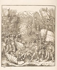 The Blue King defeating the Ermine King; the opposing forces still neatly separated at the back, at the front, the halberds are lowered as the French troops on the right are killing the soldiers loyal to the Duke of Brittany on the left. c.1514-6 Woodcut