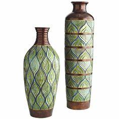 Peacock Metallic Floor Vases