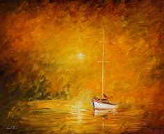 In The Warm Fog — Palette Knife Orange Seascape Home Decor Oil Painting On Canvas By Leonid Afremov. Size: X Inches cm x 75 cm) Popular Paintings, Colorful Paintings, Beautiful Paintings, Ballerina Painting, Oil Painting Abstract, Seascape Art, Painting Art, Art Paintings, Oil Painting Reproductions