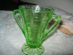 """ DEPRESSION GREEN "" BLOCK OPTIC "" SUGAR BOWL "" HAZEL ATLAS GLASS """