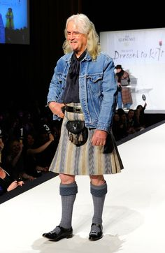 """Billy Connolly Photos - Actor Billy Connolly walks the runway at the Annual """"Dressed To Kilt"""" charity fashion show at Hammerstein Ballroom on April 2011 in New York City. - Annual Dressed To Kilt Charity Fashion Show - Runway Clan Macleod, Billy Connolly, Scottish People, Celtic Pride, Man Skirt, Men In Kilts, How To Look Handsome, Sharp Dressed Man, Tartan"""