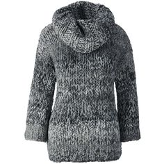 Lands' End Women's Petite Hand Knit 3/4 Sleeve Sweater ($149) ❤ liked on Polyvore featuring tops, sweaters, black, ribbed sweater, loose knit sweater, ribbed knit sweater, cowlneck sweater and hand knit sweater