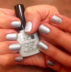 One of the new #CND shellac polish, Ice Vapor, on top of Silver Chrome done by our very own Marissa