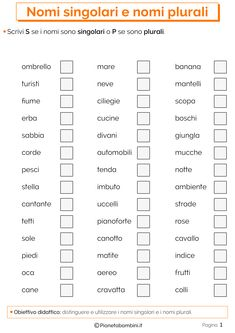 I Nomi Singolari e Plurali: Esercizi per la Scuola Primaria | PianetaBambini.it Kids Bedroom Organization, Italian Lessons, Learning Time, Italian Language, Learning Italian, Kids And Parenting, Elementary Schools, Bar Chart, Teaching