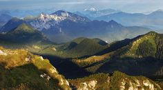 "Morning view from the ""Benediktenwand"" (1.801m) in Upper Bavaria towards the Central Alps.  Kilian Schoenberger"