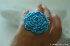 Crochet ring in blue Flower crochet ring by lindapaula on Etsy, Crochet Rings, Crochet Yarn, Crochet Flowers, Crochet Jewellery, Crochet Accessories, Yarn Crafts, Blue Flowers, Handmade Jewelry, Jewelry Making