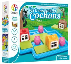 SmartGames Three Little Piggies - Deluxe Cognitive Skill-Building Puzzle Game featuring 48 Playful Challenges for Ages Pig Games, Logic Games, Brain Games, Three Little Piggies, Three Little Pigs Story, Preschool Puzzles, Preschool Board Games, Lego Technic, Lego Duplo