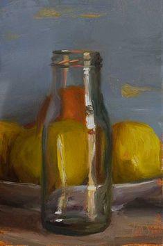 Julian Merrow-Smith | Jar and lemons, oil on board, 2013