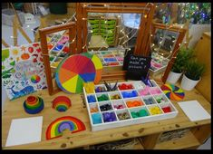"Colourful discovery table from Rachel ("",)"