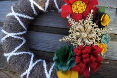 Yarn Wreath Felt Flower  Christmas Holiday 14 by Paperfrostingetc