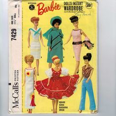1960s Vintage Sewing Pattern McCalls 7429 11 1/2 Inch Fashion Doll Clothes Barbie Instant Fabric and Knit Wardrobe Separates 1964 60s UNCUT