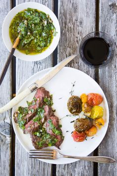 Grilled Skirt Steak with Chimichurri Sauce #recipe