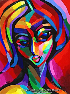 Abstract Red Woman contemporary original painting female fine art by artist Martina Shapiro.