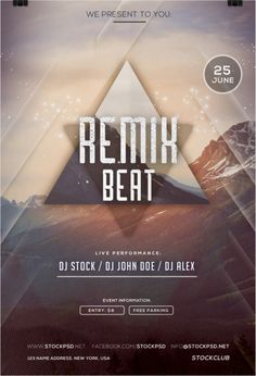 Remix Beat Party Free Flyer Template for Electro and Hip Hop Club Parties Free Psd Flyer Templates, Flyer Free, Dj John, Free Park, Music Party, Club Parties, Party Poster, Party Flyer, Beats