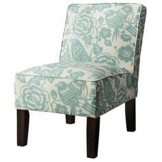 Burke Armless Upholstered Slipper Chair - Blue Floral