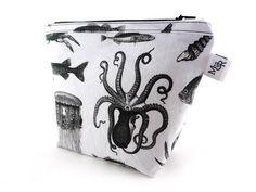 Handmade Sea Creatures Makeup Bag White from maxandrosie.co.uk