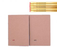 Love Hate Notebooks with Pencil Sets