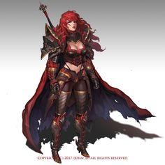f Fighter Plate Armor Cloak 2 Handed Sword ArtStation - Red Knight, Hanyong Kim Fantasy Female Warrior, Female Armor, Female Knight, Fantasy Armor, Fantasy Women, Medieval Fantasy, Fantasy Girl, Woman Warrior, Fantasy Character Design