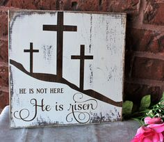 Beautiful He is risen sign will be the perfect touch for your Easter decorations. This wood sign will look lovely as a wall hanging or a centerpiece on a easel. Easel is not included. Made from solid