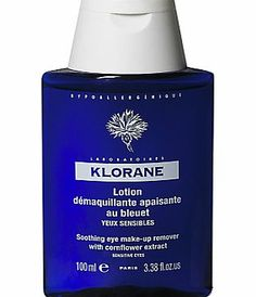 Klorane Soothing Eye Makeup Remover, 100ml A gentle eye makeup remover by Klorane that soothes the skin around the eye. Safe for contact lens wearers. Hypoallergenic, ophthalmologist and dermatologist tested. (Barcode EAN=3282779063159) http://www.comparestoreprices.co.uk/health-and-beauty/klorane-soothing-eye-makeup-remover-100ml.asp