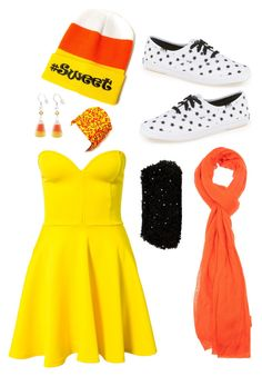"""candy corn"" by mearagrassi ❤ liked on Polyvore featuring Ann Taylor, Club L, Keds, Faliero Sarti and Metropark"