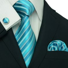 Light Blue and Turquoise Wedding Tie Set JPM658 – Toramon Necktie Company
