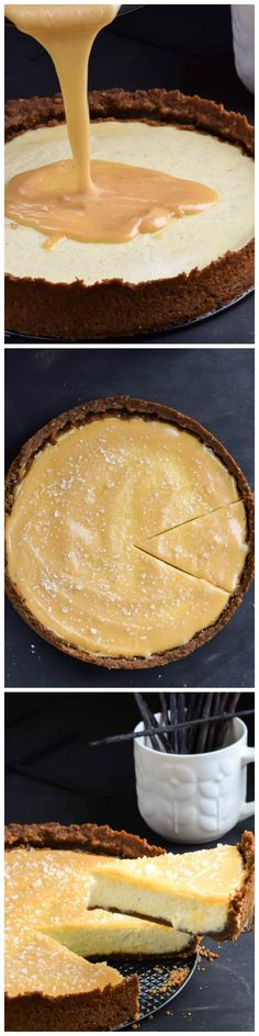 Salted Caramel Vanilla Bean Cheesecake with Crumb Crust - A creamy cheesecake filled with plenty of vanilla on a simple crumb crust.