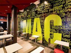 McDonald's Form Style Prototype, Australia; Juicy Design Interior Wallpaper, Graphic Wallpaper, Form Style, Fashion Forms, Logo Restaurant, Cafe Design, Work Inspiration, Coffee Shop, Euro