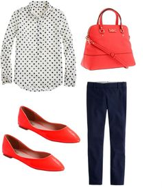 **10/8/15 LE straight-leg black pants, black & white spotted blouse, ON red ballet flats